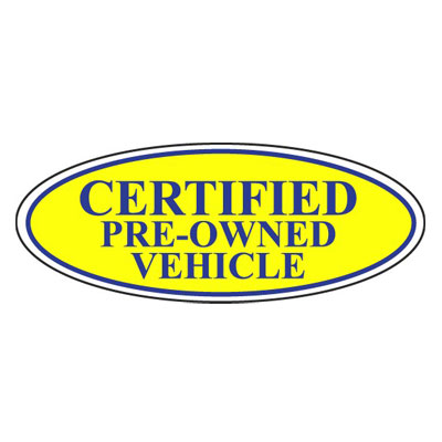 certified pre owned vehicle oval sign ez196 c. Black Bedroom Furniture Sets. Home Design Ideas