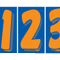 7 1/2 inch Orange & Blue Adhesive Number