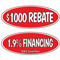 Red Black & White Oval  Incentive Slogans {EZ266-R}